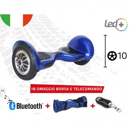 "HOVERBOARD BLUE 10"" POLLICI LUCI LED BLUETOOTH SPEAKER BORSA E TELECOMANDO"