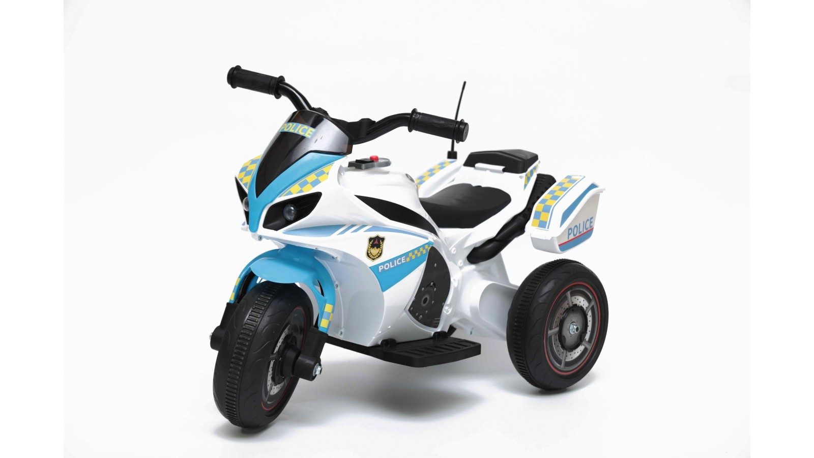 Moto Elettrica per bambini Polizia Blue con Musiche Luci Mp3 Marcia avanti e indietro accelleratore 3 ruote