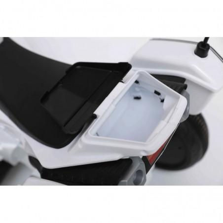 Moto Elettrica per bambini Polizia con Musiche Luci Mp3 Marcia avanti e indietro accelleratore 3 ruote