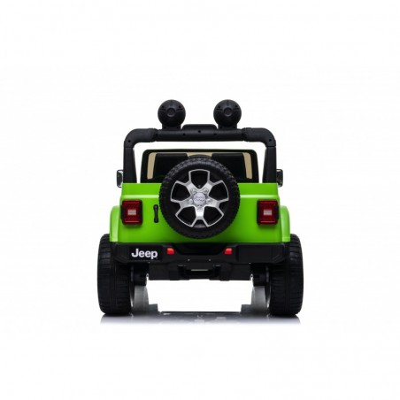 Auto macchina elettrica jeep Wrangler Rubicon 12V per bambini porte apribili con telecomando full accessori Green