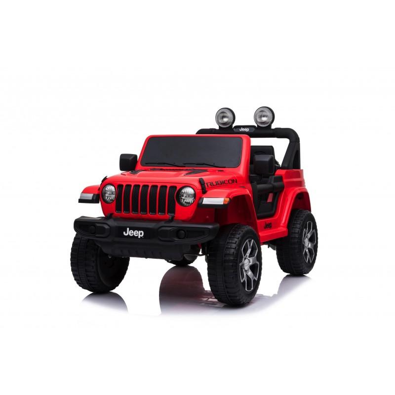 Auto Macchina Elettrica Jeep Wrangler Rubicon 12V per Bambini porte apribili Con telecomando Full accessori (Rossa)