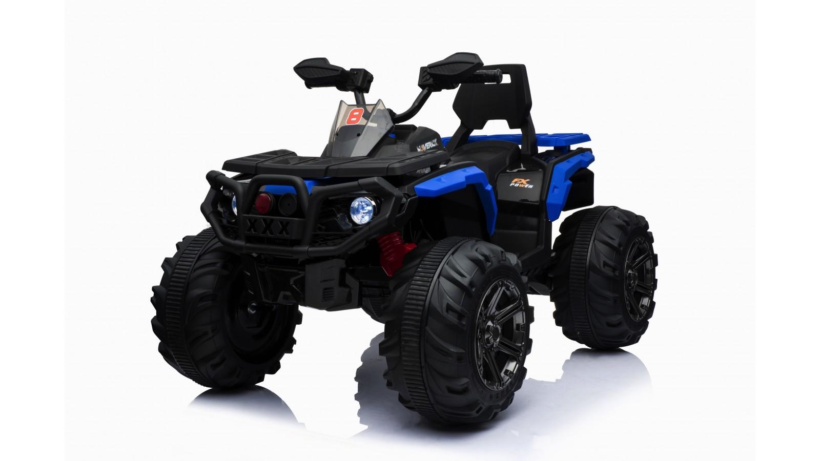 Super Quad elettrico Maverick per Bambini 12V doppio motore Full optional con Ammortozzatori Bianco Nero/Blue