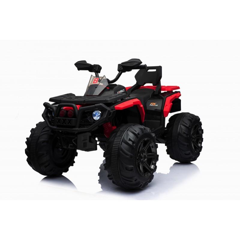 Super Quad elettrico Maverick per Bambini 12V doppio motore Full optional con Ammortozzatori Bianco Nero/rosso
