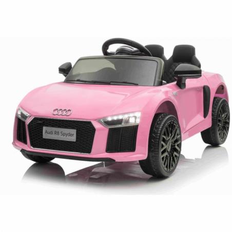 Auto Macchina Elettrica 12V R8 Spyder per Bambini Led MP3 con Telecomando Sedile in pelle Rosa