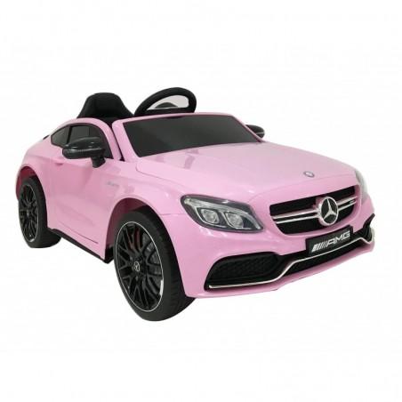 Auto Elettrica per Bambini 12V Mercedes C63 AMG Rosa Porte Apribili con telecomando