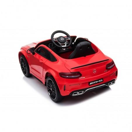 Auto Elettrica per Bambini 12V Mercedes C63 AMG Rossa Porte Apribili con telecomando