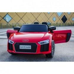 Auto Macchina Elettrica 12V R8 Spyder per Bambini Led MP3 con Telecomando Sedile in pelle Rossa