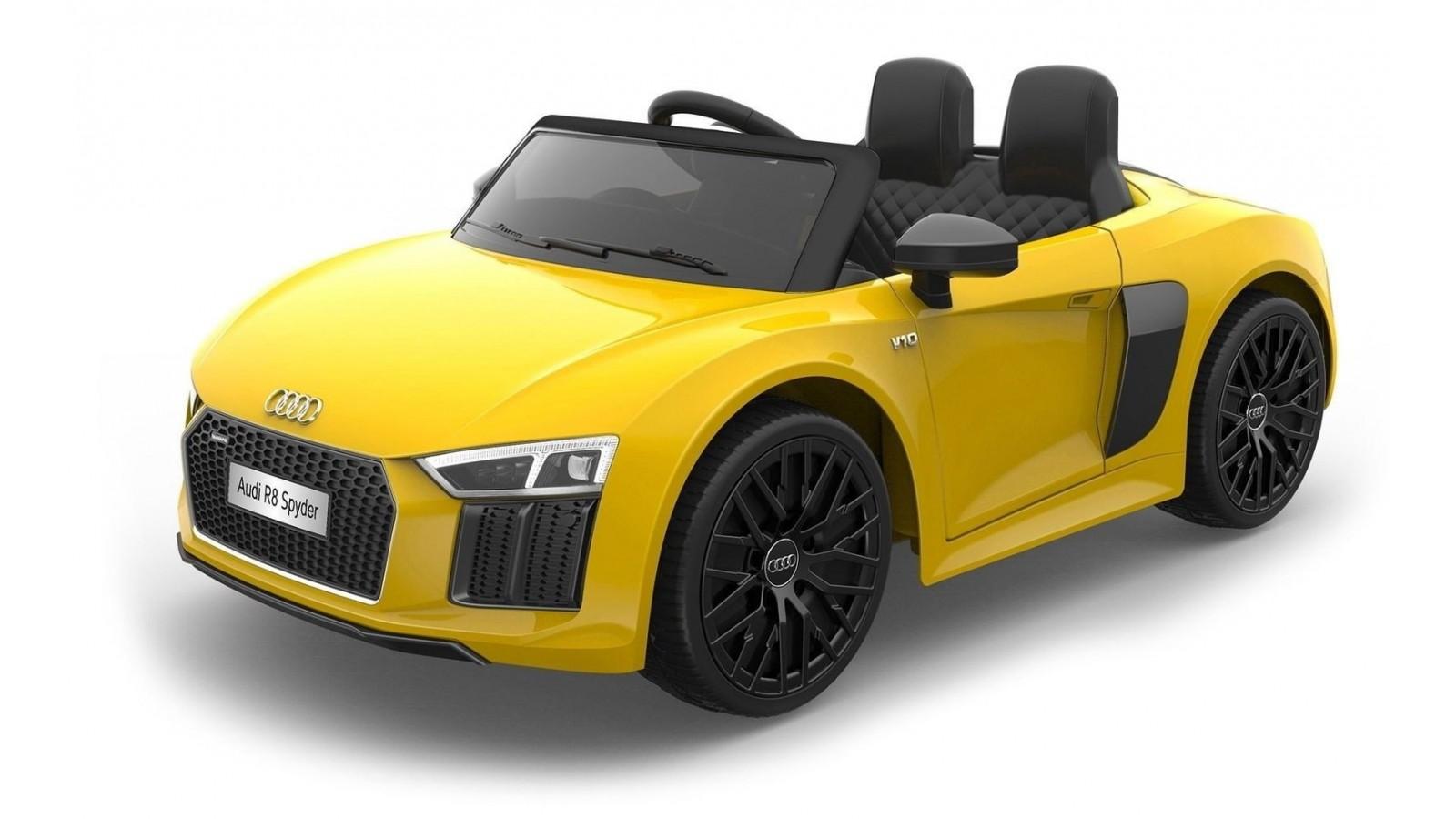 Auto Macchina Elettrica 12V R8 Spyder per Bambini Led MP3 con Telecomando Sedile in pelle Gialla
