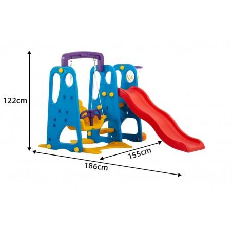Scivolo Per Bambini Con Altalena Giardino Esterni Interno Multifunzione Con Canestro H122 X L186 X L155 BlueParty
