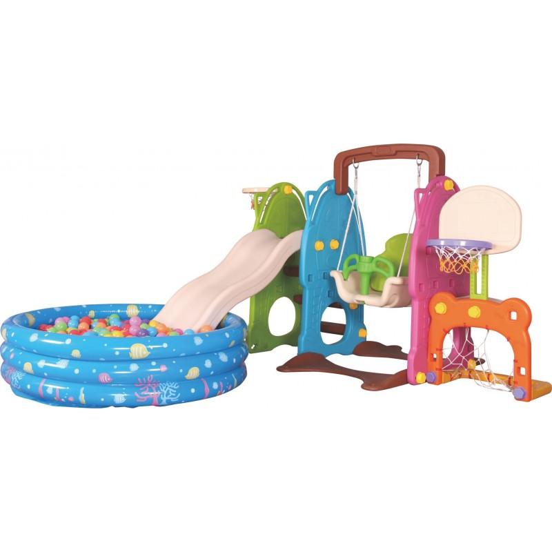 Scivolo Per Bambini Con Altalena e piscina Giardino Interno Esterni Multifunzione Con Canestro H122 X L209 X L256 Party