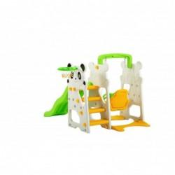 Scivolo Per Bambini Con Altalena Giardino Esterni Interno Multifunzione Con Canestro H120 X L153 X L160 PANDA