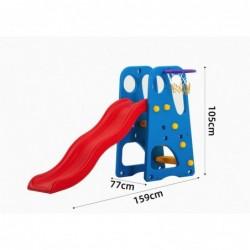Scivolo per Bambini Giardino Esterni Interno BlueFun Multifunzione con canestro uscita Soft H105 x L159 x L77