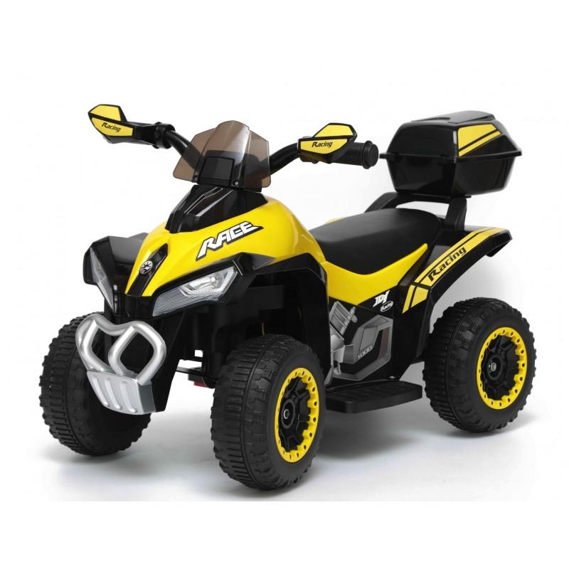 Quad Elettrico Per Bambini Racer Giallo con luci suoni Mp3 bauletto marcia avanti indietro e accellelratore