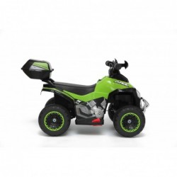 Quad Elettrico Per Bambini Racer verde con luci suoni Mp3 bauletto marcia avanti indietro e accellelratore