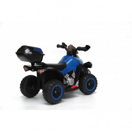 Quad Elettrico Per Bambini Racer Blue con luci suoni Mp3 bauletto marcia avanti indietro e accellelratore