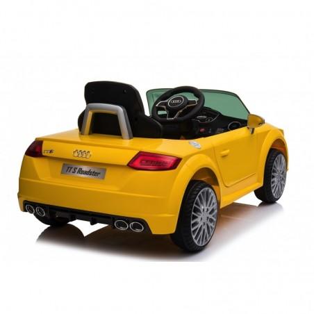 Auto Macchina Elettrica per Bambini 12V Audi TT S RoadSter Sedile Pelle con Telecomando Gialla
