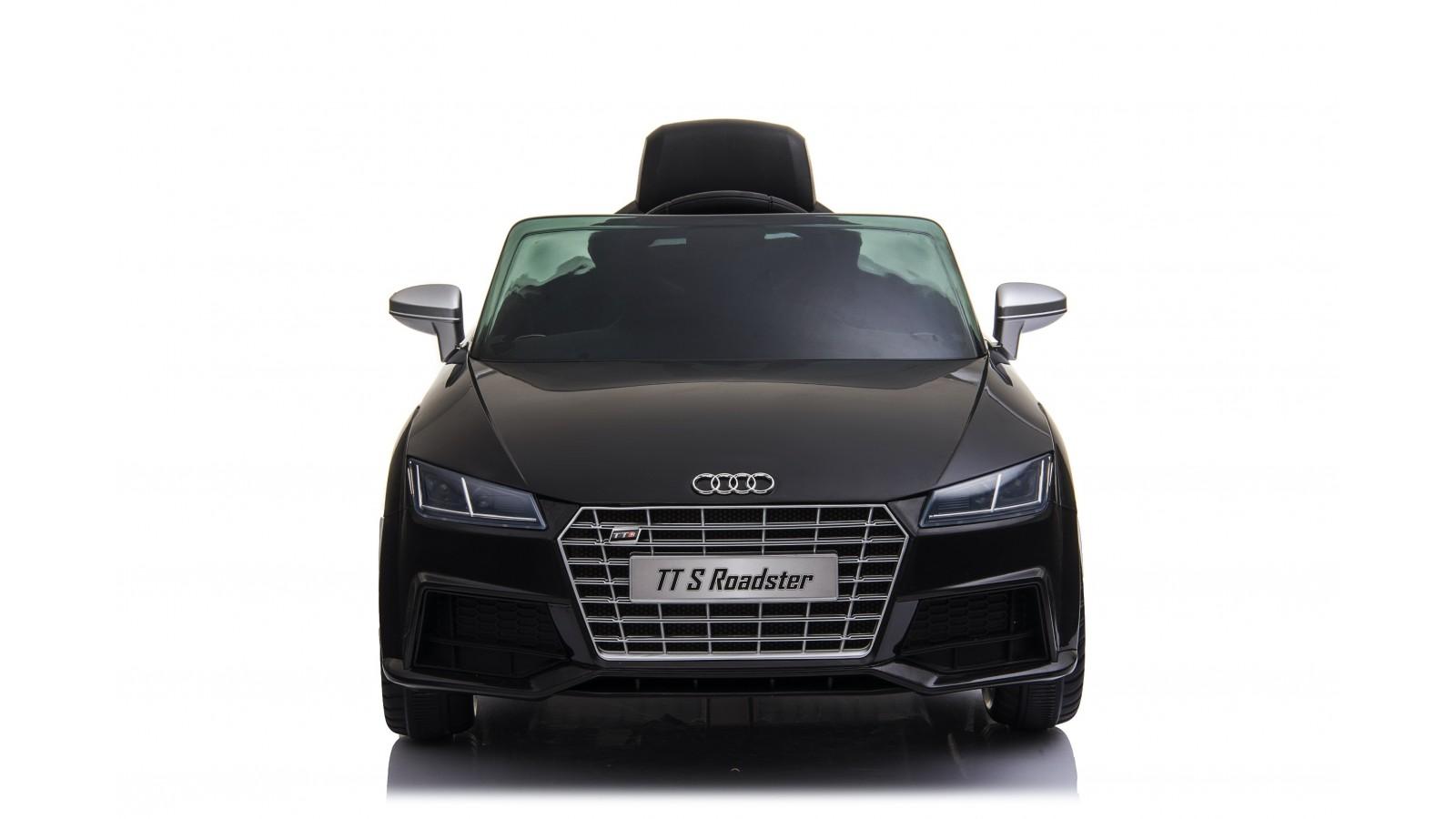 Auto Macchina Elettrica per Bambini 12V Audi TT S RoadSter Sedile Pelle con Telecomando Nera
