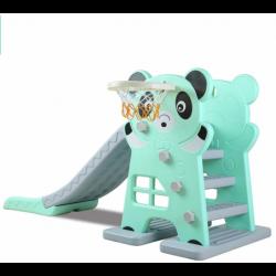 Scivolo per Bambini Giardino Esterno Interno Panda Multifunzione con canestro uscita Soft H79 x L152 x L73