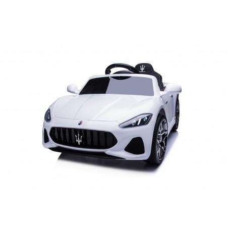 Macchina Elettrica per Bambini 12V Maserati GranCabrio Bianca con sedile in pelle Telecomando Porte apribili Led e suoni Mp3