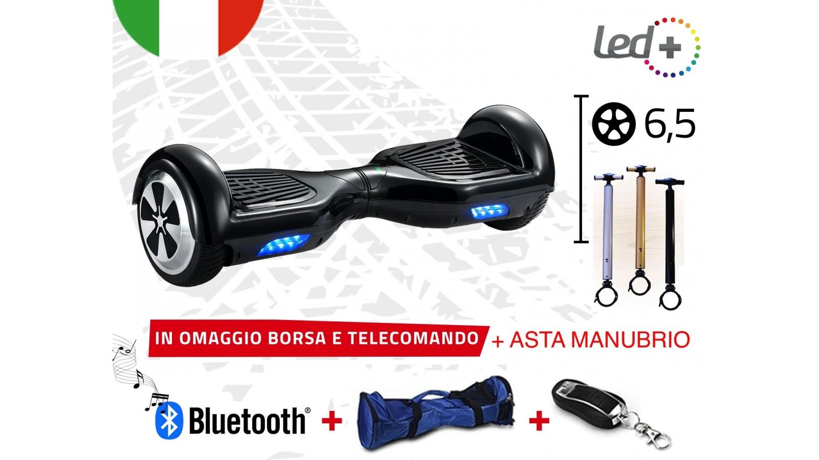 HOVERBOARD NERO 6,5 POLLICI LUCI LED BLUETOOTH SPEAKER BORSA E TELECOMANDO + ASTA
