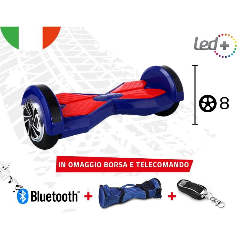 "HOVERBOARD BLUE 8.0"" POLLICI LUCI LED BLUETOOTH SPEAKER BORSA E TELECOMANDO"